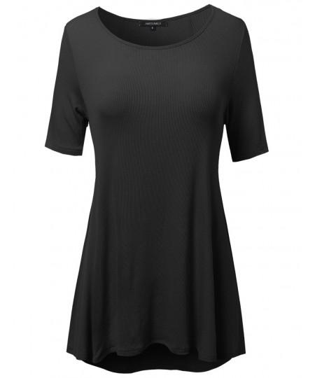 Women's Short Sleeve Rib High Low Hem Swing Top