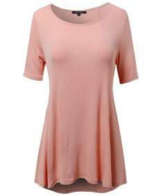 Women's Short Sleeve Rib High Low Hem Swing Top