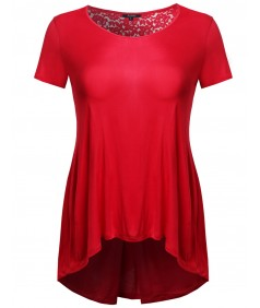 Women's Plus Size Short Sleeve Floral Lace High Low Top