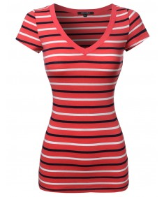 Women's Basic Stripe Short Sleeve V-neck Tee