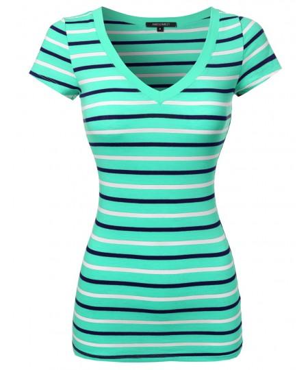 Women's Basic Stripe Short Sleeve V-neck Tee