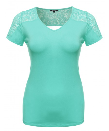 Women's Plus Size Back Lace V-Neck Tee Shirt