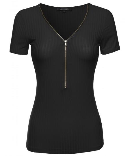 Women's Cap Sleeve Ribbed Tee With Center Zipper