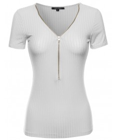 Women's Cap Sleeve Ribbed Tee With Center Zipper