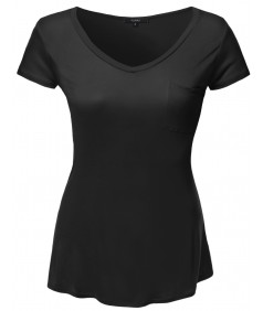 Women's Plus Size Basic V-Neck Tee w/ Front Pocket