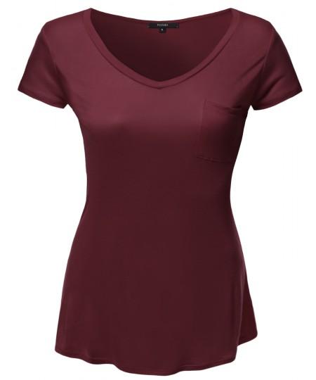 Women's Plus Size Basic V-Neck Tee w/ Front Pocket