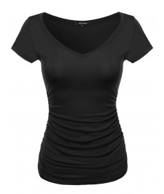 Women's Cap Sleeve Scoop Neck Shirred Tee