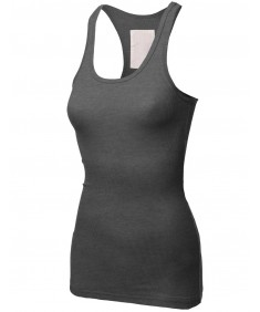 Women's Basic Solid Rib Racerback Tank Tops