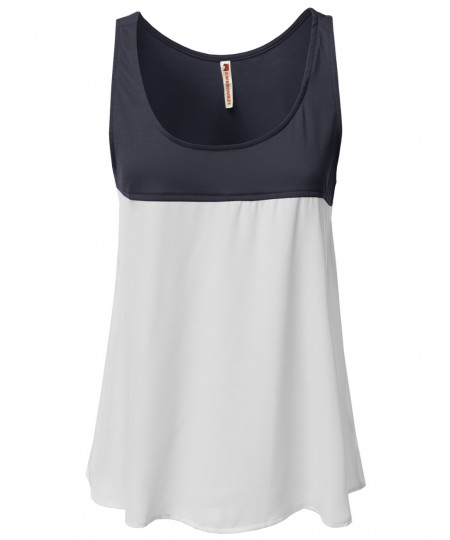 Women's Solid Color Contrast Sleeveless Tank Tops