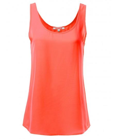 Women's Solid Basic Chiffon Sleeveless Tank Top