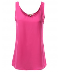 Women's Solid Basic Chiffon Sleeveless Tank Top