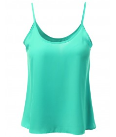 Women's Scoop Neck Woven Camisole Sleeveless Tops
