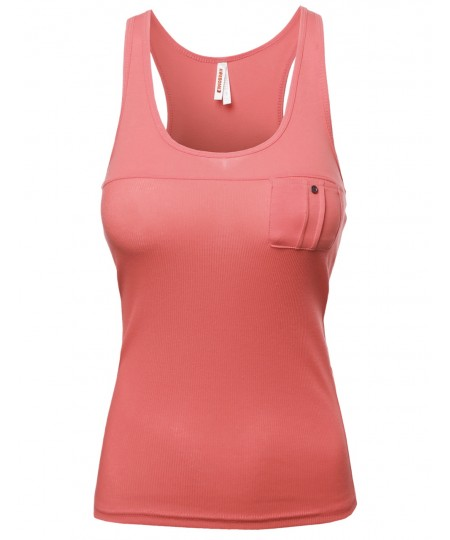 Women's Casual Racer Back Front Pocket Tops