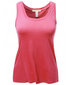 Women's Basic Solid Sleeveless Square Neck Plus Size Tank Top