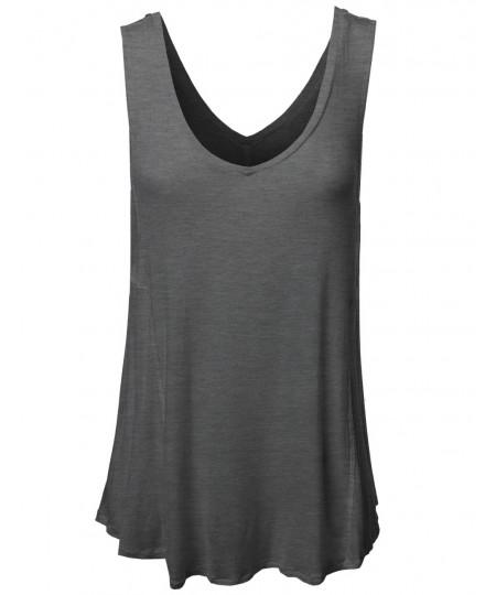 Women's Basic Solid Sleeveless V-Neck Plus Size Flowy Tank Top