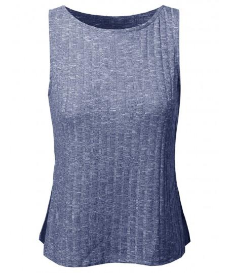 Women's Basic Trendy Rib Sleeveless Top