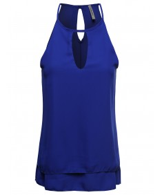 Women's Solid Woven Strappy Top With Front Peep Hole