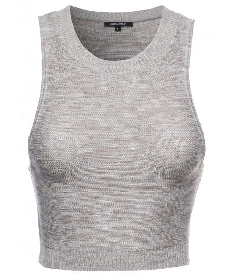 Women's Basic Round Neck Knitted Crop Top