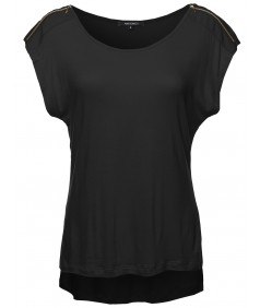 Women's Zipper Shoulder Detail Loose Tee