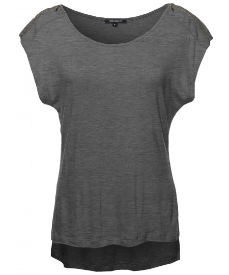 Women's Zipper Shoulder Detail Loose Tee
