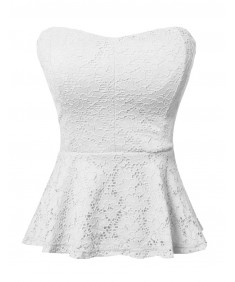 Women's Stretchy Sexy Lace Peplum Top