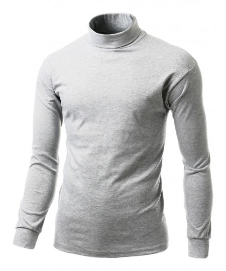 Men's Interlock Soft Cotton Knit Mock Turtleneck With Long Sleeve Shirts