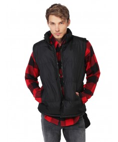 Men's Men's Solid Puffer Vest with Detachable Hoody