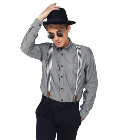 Men's Basic Button-Collar Chambray Long Sleeve Shirt