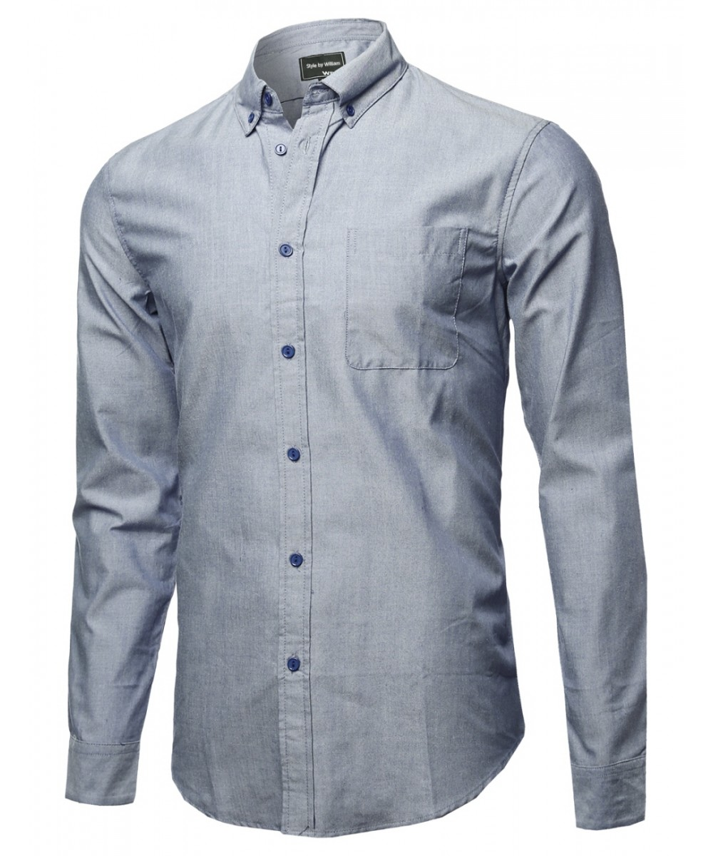 Men 39 s solid basic button collar cotton chambray long for Chambray long sleeve shirt