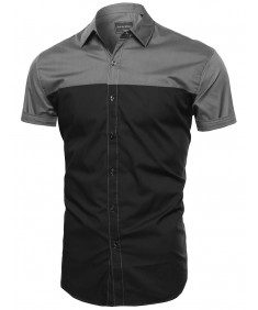 Men's Color Block Button Down Short Sleeve Shirt