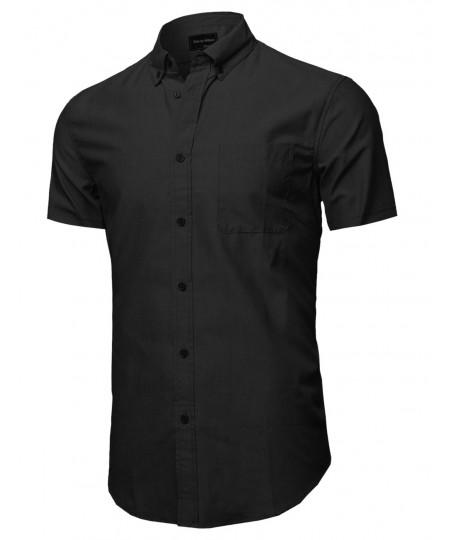 Men's Basic Button-Collar Chambray Short Sleeve Shirt