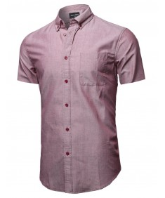 Men's Basic Button-Collar Chambray Short Sleeve Shirt