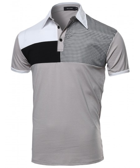 Men's Multi-Patterned Polo Shirt
