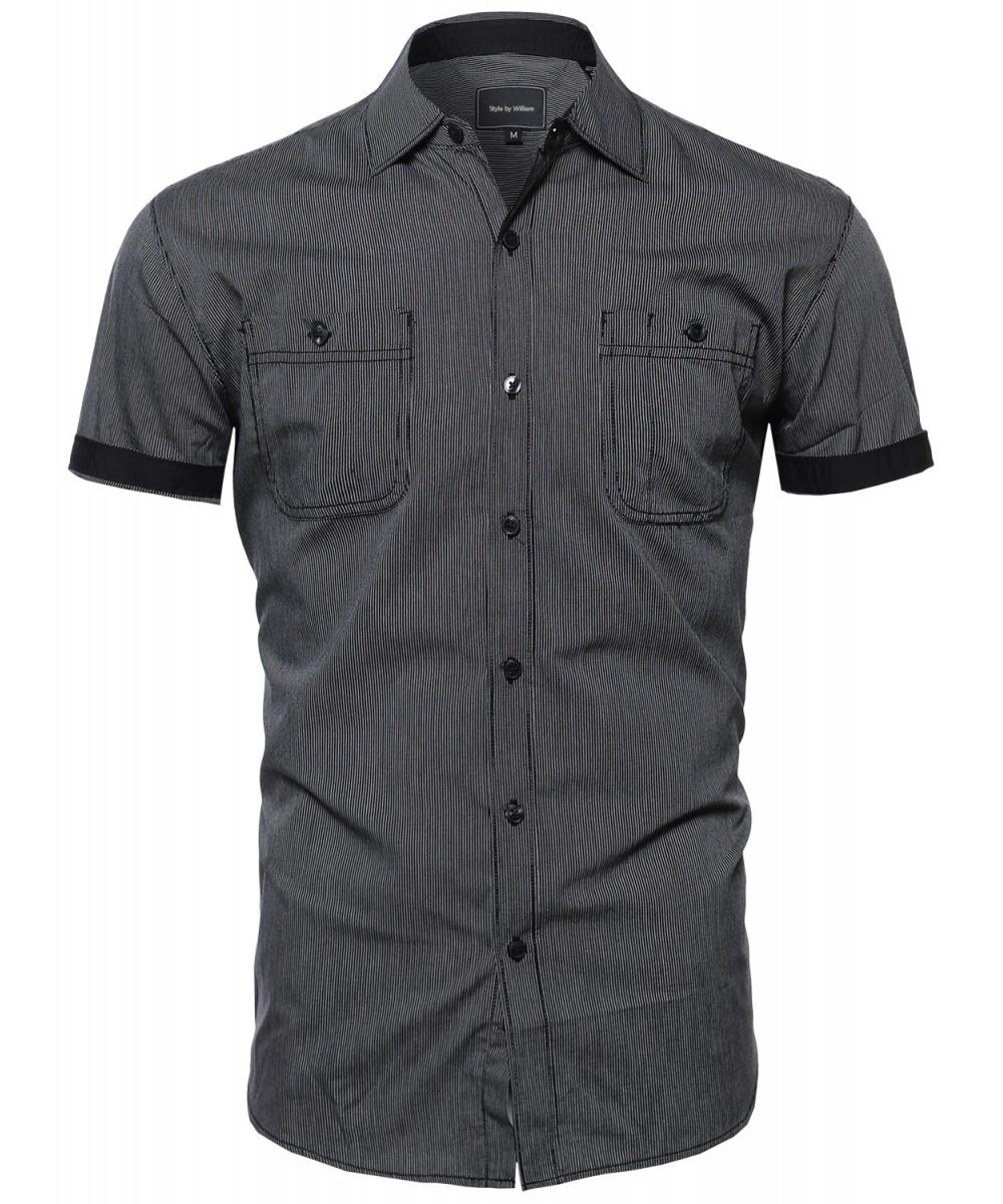 Men 39 s casual striped collar button down short sleeve for Mens short sleeve button down shirts