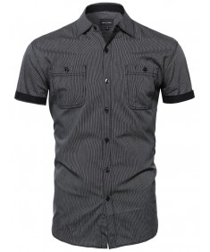 Men's Striped Button Down Short Sleeve Shirt