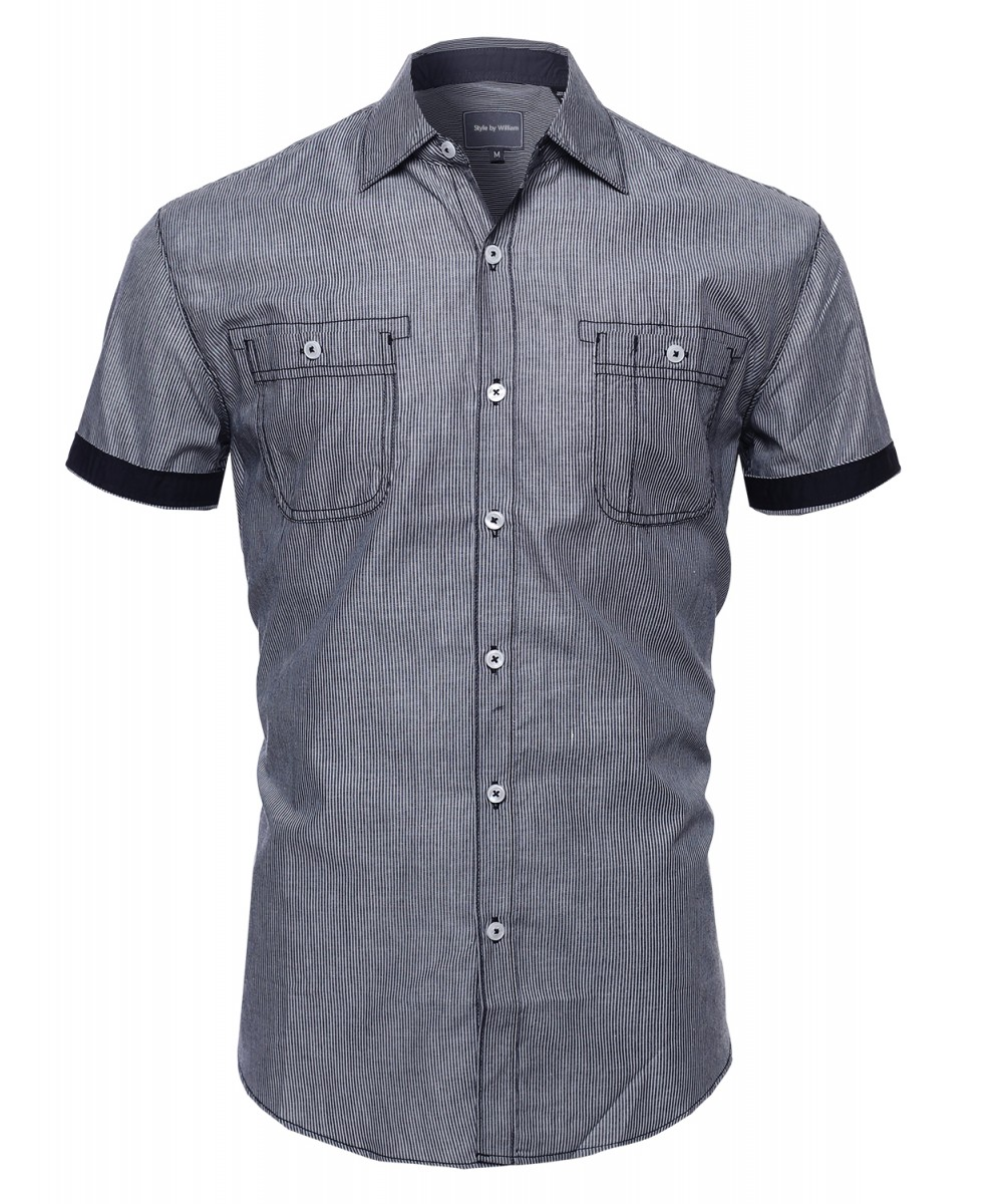 Men's Casual Striped Collar Button Down Short Sleeve Pockets Shirt ...
