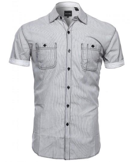 Men's Striped Button Down Short Sleeve Shirt