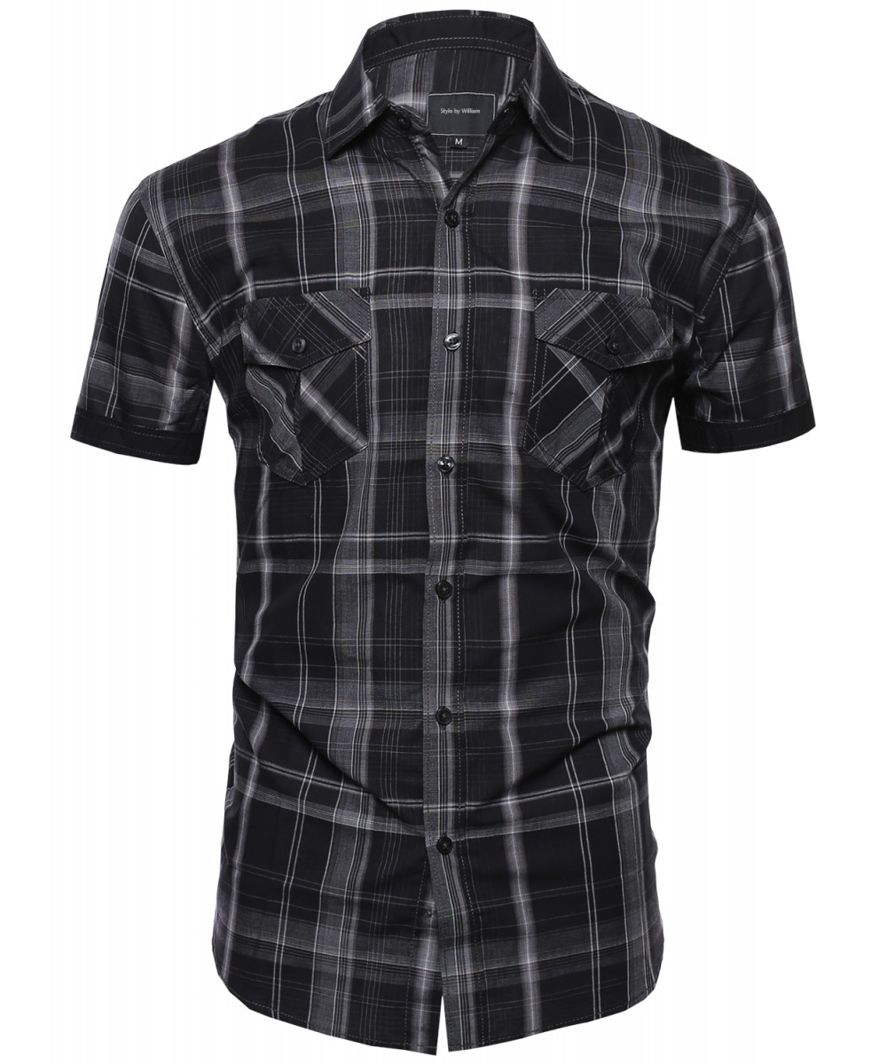 Men 39 s casual plaid collar button down short sleeve pockets Short sleeve plaid shirts