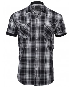 Men's Plaid Pattern Button Down Short Sleeve Shirt