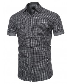 Men's Checkered Button Down Short Sleeve Shirt