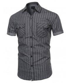 Men's Checkered Button Down Short Sleeve Shirt
