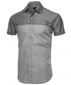 Men's Color Block Button Down Short Sleeve Lightweight Shirt