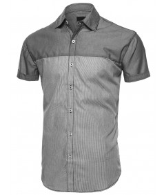 Men's Color Block Solid Thin Stripe Button Down Short Sleeve Shirt