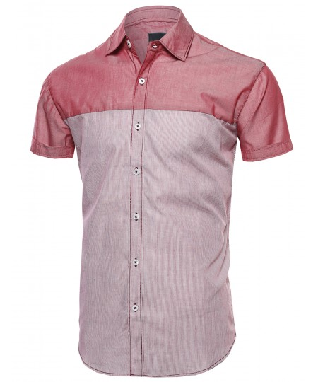 Men's Color Block Solid Thin Stripe Button Down Short Sleeve Shirt
