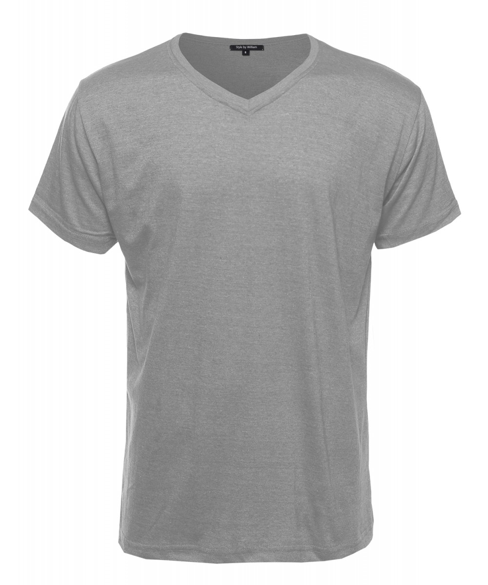 Men 39 s basic lightweight high v neck tee shirt for High neck tee shirts