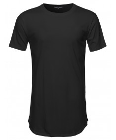 Men's Basic Long Length Crewneck Tee With Side Zippers