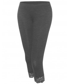 Women's Basic Essential Soft Leggings With Lace Trim