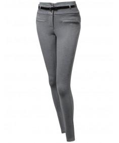 Women's High Waist Ponte 3 Button Long Pants with belt