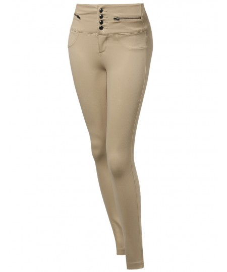 Women's High Waist 4 Button Ponte Long Pants
