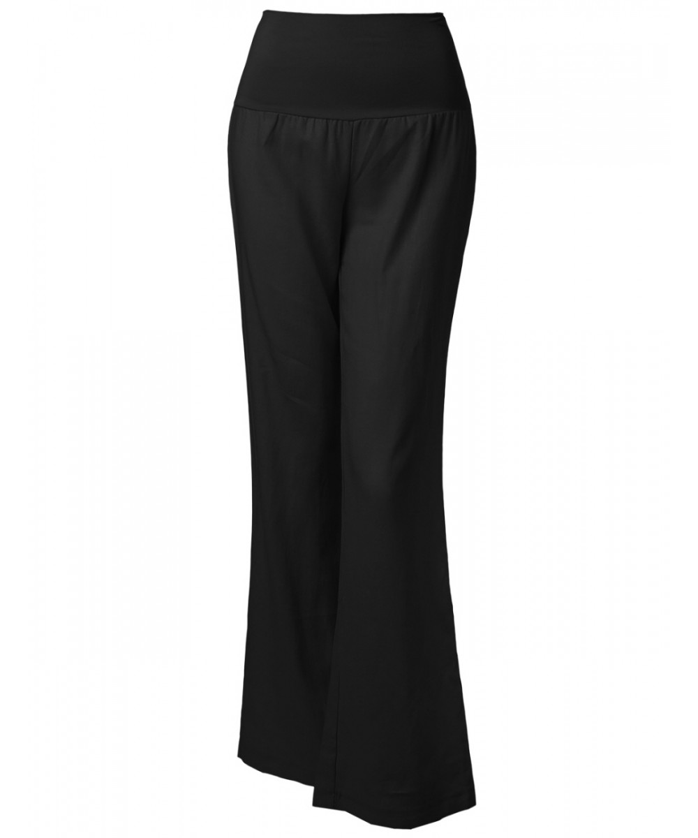 Women's Wide Leg Linen Pants Fold Over Waistband - FashionOutfit.com
